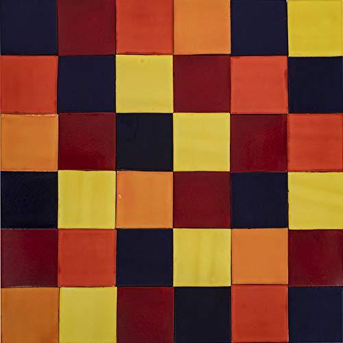 Cerames Intenso - Patchwork de azulejos monocromáticos - 90 unidades, 1 m2| Azulejos de cerámica mexicanos para cocina y baño