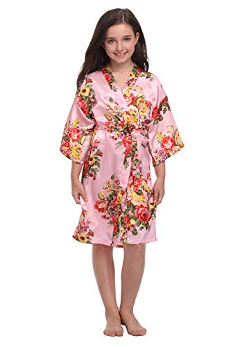 Floral Satin Kimono Robes for Girls Junior Bridesmaid Robes for...