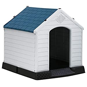 Indoor Outdoor Dog House Big Dog House for Small Medium Large Dogs 39 Inch High Plastic Dog Houses All Weather Dog House with Base Tough Durable House with Air Vents Elevated Floor Water Resistant