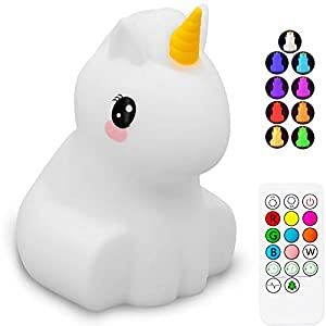 Cute Unicorn Kids Night Light, Silicone Rechargeable Nursery NightLights,Portable Changing Mode Multicolor Lamp Light Children Bedroom,Gifts for Women Toddler Baby Kawaii Room Decor