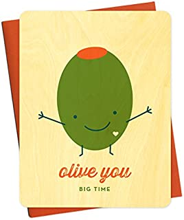 Olive You Wood Love Card by Night Owl Paper Goods