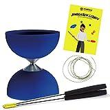 Diabolo Freizeitsport 'Acrobat Jonglier-Set mit Diabolo & Handsticks aus Aluminium (blau) inkl. Henrys Ersatzschnur inkl. Anleitung