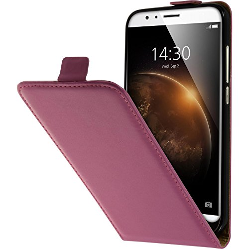 PhoneNatic Kunst-Lederhülle kompatibel mit Huawei G8 - Flip-Hülle pink + 2 Schutzfolien