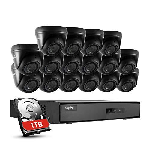 SANNCE Kit de videovigilancia 720P DVR 16 Canales y 16 cámaraS de Seguridad 100W H.264 CCTV IR Leds Visión Nocturna Interior/Exterior-1TB Disco Duro de vigilancia