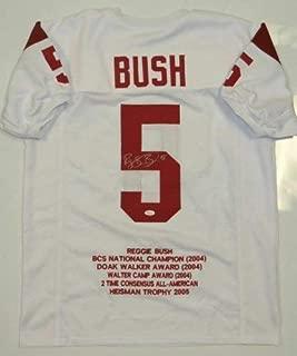 Autographed Signed Reggie Bush White Stat Jersey - Memorabilia JSA Authentic