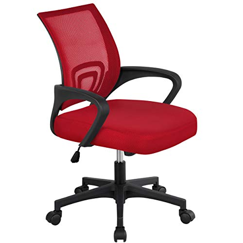 Yaheetech Computer Chair Ergonomic Desk Chair with Lumbar Support Modern Executive Adjustable Rolling Swivel Chair for Recreation Red