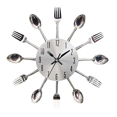 Relojes de Pared para dormitorios Reloj de Pared Moderno de Acero Inoxidable Cuchillo Tenedor Analógico para la Oficina en el hogar Reloj de Pared analógico de Cuchara y Tenedor mágico
