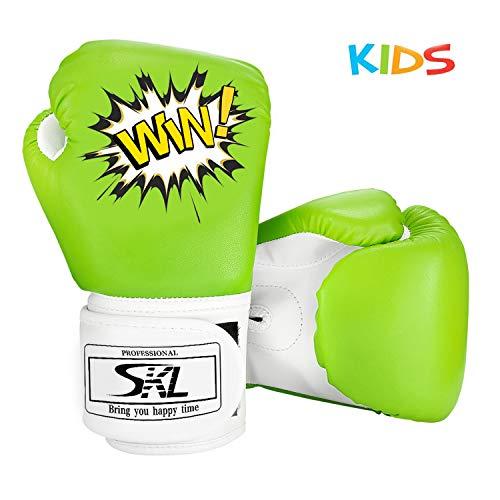 SKL Kinder Boxhandschuhe, Pu Kinder Kinder Cartoon Sparring Boxhandschuhe Training Alter 5-12 Jahre (Grün)