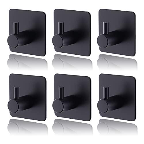 6 ganchos autoadhesivos para toallas, de acero inoxidable 304, fuertes, autoadhesivos, ideales para baño, aseo, cocina, oficina, color negro