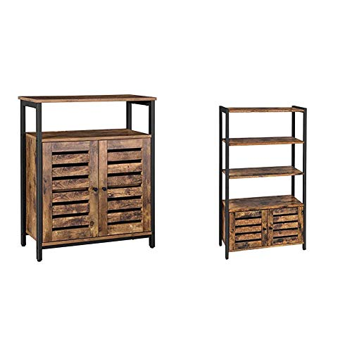 VASAGLE Lowell Standing Cabinet, Storage Cabinet, Accent Side Cabinet with Shelf, Rustic Brown ULSC76BX & Lowell Bookshelf, Storage Cabinet with 3 Shelves and 2 Louvered Doors, Rustic Brown ULSC75BX