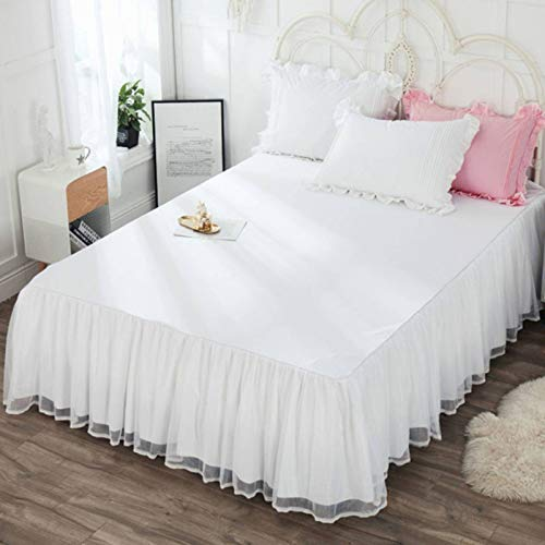GOPG Bettrock mit Rüschen, Weich rutschfest Staubdicht Elastische Spitze Volltonfarbe Bettvolant Bettschutz für Hotel Familie Schlafzimmer-A-Bett 150x200cm