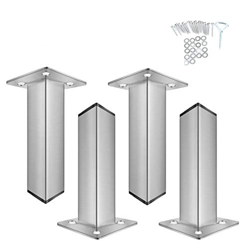 """POPMOON 6"""" Furniture Legs Chrome Metal Cabinet Table Sofa Bed Feet Rectangle Sofa Legs Bed Support Legs Supports up to 1200 pounds"""
