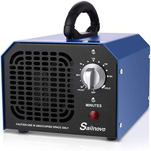 Nakey Generador de ozono, generador comercial de ozono 6000 mg/h Desodorante negro esterilizador industrial O3 para purificador de aire para habitación, humo, coche y animales domésticos