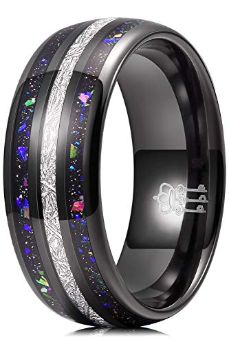 THREE KEYS JEWELRY Men Wedding Bands 8mm Tungsten Galaxy Blue Opal Carbide Meteorite Ring Real with Jewels Polished Infinity Unique for Him Black Size 10.5
