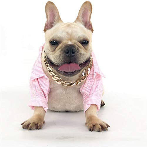 Dog Necklace Collar Puppy Fashion Pitbull Dog Gold Chain Necklace Cool Gold Metal Collar Jewelry and Accessories for Dogs Cats
