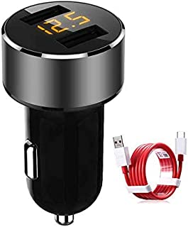 Dual USB Car Charger Type-C Charging Rapidly Car Charger Dash 3.6A for Oneplus 3 / 3T / 5 / 5T / 6 / 6T (Black)