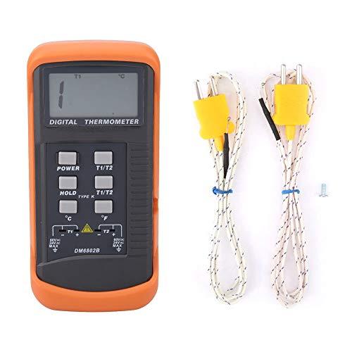 Termómetro digital de doble canal Herramienta de medición de la temperatura a termopar de tipo K de alta precisión -50 °C ~ 1300 °C