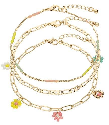 SIX Trendy 613-540 - Juego de pulsera con cuentas de cristal, cuentas de metal y diseño de flores para mujer