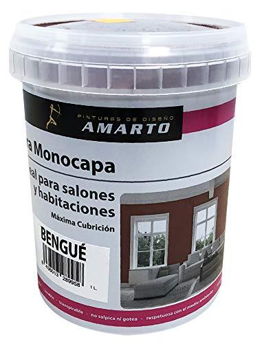 Pintura Monocapa en cubetas, para decoracion de interiores y exteriores de yeso, cemento, escayola, etc. … (1L, GRIS SERENA)