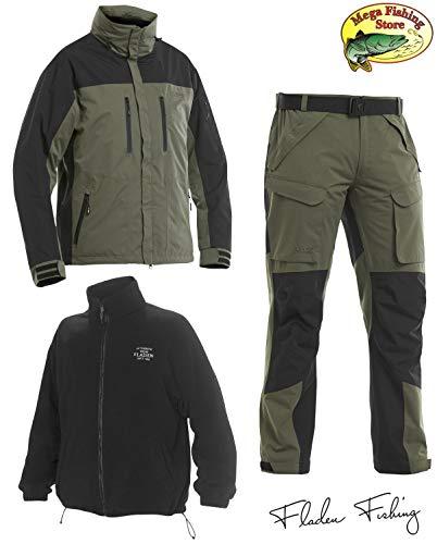 Fladen Fishing Authentic Wear 3in1 Outdoor Thermo Anzug - Grün-Schwarz - Allwetter Angel Jacke & Hos (M)