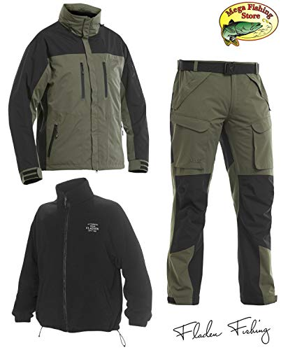 Fladen Fishing Authentic Wear 3in1 Outdoor Thermo Anzug - Grün-Schwarz - Allwetter Angel Jacke & Hos (L)