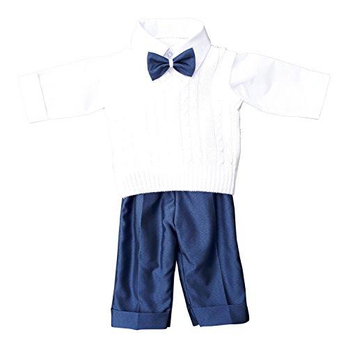 deine-Brautmode Taufanzug Festanzug Anzug Weste Hose Hemd Fliege Taufe Baby Set Adam Anzug, weiß blau, 74