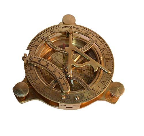 Kompass aus massivem Messing, Sonnenuhr, 10,2 cm