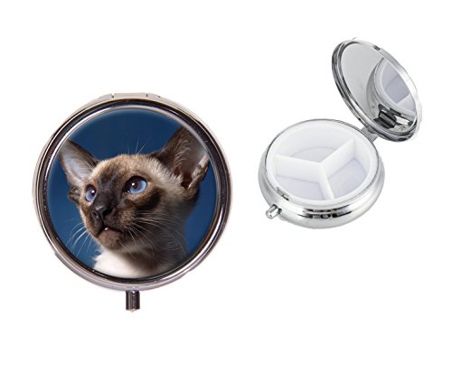 Gato siamés en una ronda viajes Metal Píldora caja ideal Regalo de cumpleaños x23