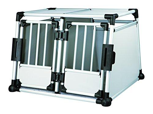 Trixie 39345 Transportbox, doppelt, Aluminium, M–L: 93 × 64 × 88 cm, silber/hellgrau