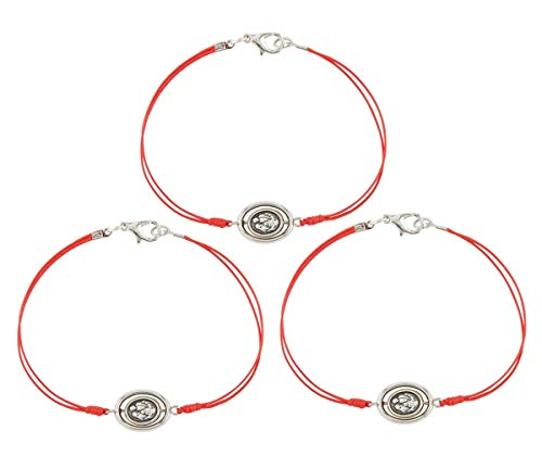 Needzo Holy Family and Holy Spirit Dove Medal Slim Red Cord Confirmation Bracelet, 7 Inch, Pack of 3