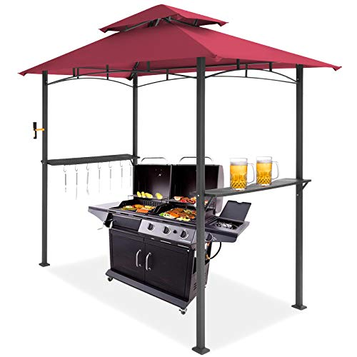 MEWAY 8x5 Grill Gazebo Double Tiered Outdoor BBQ Canopy Tent, Red