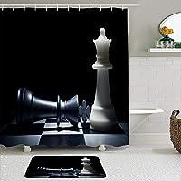 WOTAKA シャワーカーテン バスマット 2点セット ブラックチェスインターナショナルクイーンキングチェスピースチェス盤クールパズルゲーム 自家 寮用 ホテル 間仕切り 浴室 バスルーム 風呂カーテン 足ふきマット 遮光 防水 おしゃれ 12個リング付き