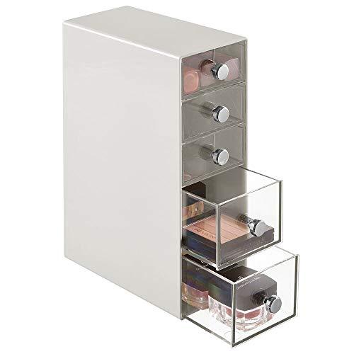 mDesign Cajonera de baño – Caja organizadora de plástico con 5 cajones para cosméticos – Organizador de Maquillaje para tocador, Lavabo y Armario – Gris Claro y Transparente