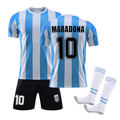 MRRTIME Traje para Adultos Y Niños Maradona 10 Fans Soccer Jersey, 1986 Equipo De Argentina Ropa De Fútbol Retro, Material De Malla De Fibra De Poliéster con Calcetines 22