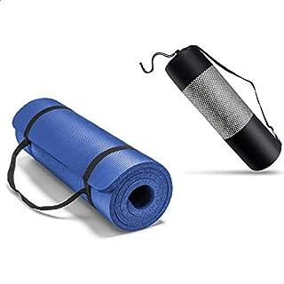 سجادة لتمارين اليوجا مع حزام وشنطة للحمل من جيمبيت، 10 ملم - ازرق