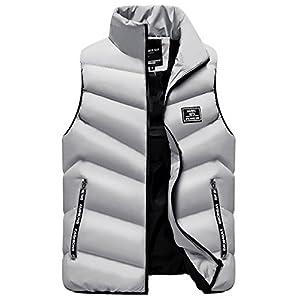 LittleKK ダウンベスト メンズ 中綿ベスト 軽量 防寒 立ち襟 無地 暖かい ジャケット ベスト M-4XL 5色展開 6708 (3XL, グレー)
