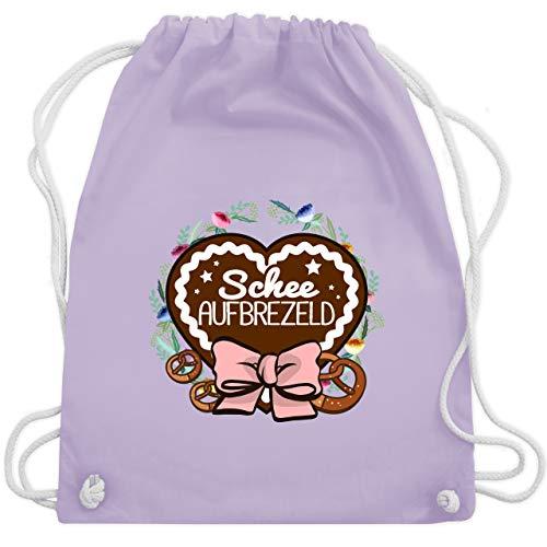 Shirtracer Oktoberfest Beutel - Schee aufbrezeld Lebkuchenherz - Unisize - Pastell Lila - Lebkuchenherz - WM110 - Turnbeutel und Stoffbeutel aus Baumwolle