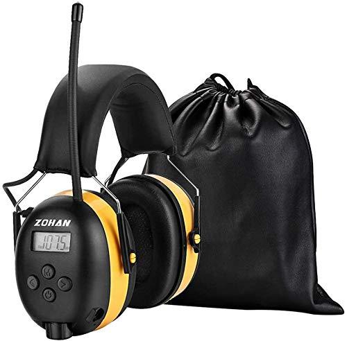 ZOHAN 042 Casque Anti Bruit FM AM Radio, Protection Auditive avec Sac Transport,avec entrée MP3 SNR 30dB pour Debroussailleuse,Tonte,Construction,Menuiserie,Loisirs (Jaune)