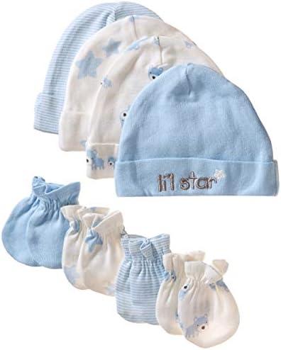 Gerber Baby Boys 8 Piece Organic Cap and Mitten Set stripe bear 0 6 Months product image
