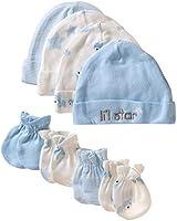 GERBER Baby Boys' 8-Piece Organic Cap and Mitten Set, Stripe Bear, Newborn