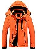 Pooluly Women's Ski Jacket Warm Winter Waterproof Windbreaker Hooded Raincoat Snowboarding Jackets Neon Orange
