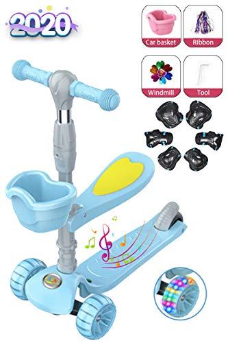 Patinete de patada estilo libre infantil, con música, asiento plegable con luz LED, sistema de freno de giro por gravedad ajustable en 3 alturas, adecuado para niños y niñas de 1 a 14 años,Azu