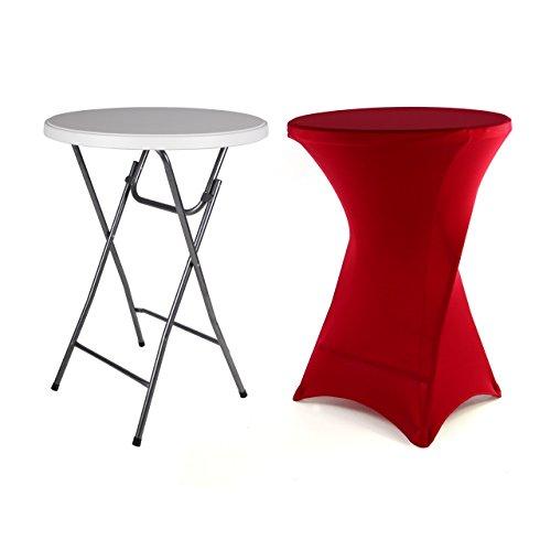 Nexos Partytisch Stehtisch 100 cm klappbar mit Husse rot Stretch waschbar Bistrotisch Bartisch 80x80 cm rund Klapptisch Stoffbezug