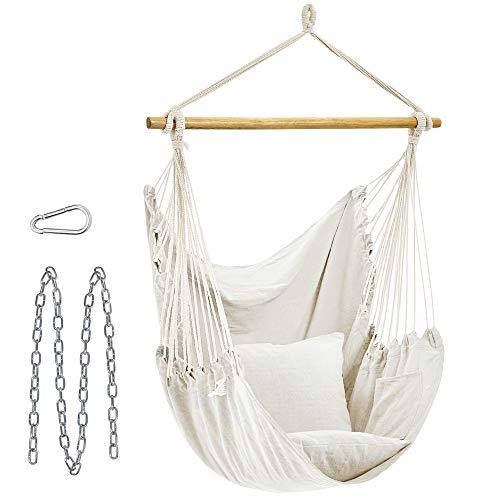 SONGMICS Hamaca silla grande con 2 almohadas, silla colgante con cadena, capacidad de carga de 350 libras, para interior, exterior, sala de estar, dormitorio, beige UGDC187M01
