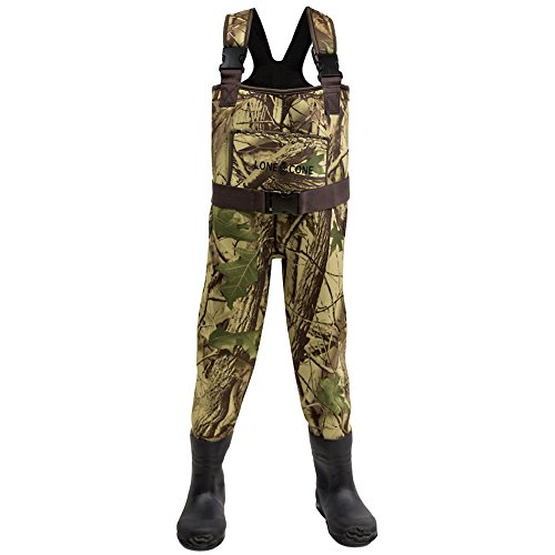 LONECONE Kids' Fishing Waders, Boot Foot Chest Waders in Warm Camo Neoprene or Breathable Poly-Nylon