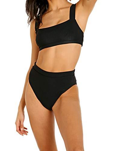 Faithfull The Brand Marta Bikini Set Plain Black Ribbing