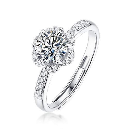 JIARU Anillo de plata de ley 925 para mujer, anillo de compromiso simple y extático de 2 quilates de moissanita, anillo de boda para niña, anillo de regalo de dedo abierto