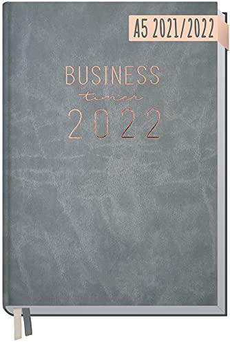 Chäff Business-Timer 2021/2022 A5 [Grau-Rosé] Terminplaner, Wochenkalender 18 Monate: Jul 2021 - Dez 2022 | Terminkalender, Wochenplaner, Organizer | klimaneutral und nachhaltig