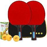 JIANGCJ bajo Precio. Ping Pong Paddle Set -Table Paddles de Tenis - Conjunto de 2 paletas de Tenis de Mesa recreativa con 3 mejoradas, embaladas en Viajes Protectores Case-C