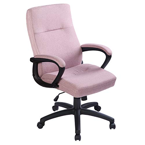 Bowthy Home Office Chair Ergonomic Computer Desk Chair with Wheels Mid Back 360 Swivel Task Chair Fabric Executive Chair (Pink)